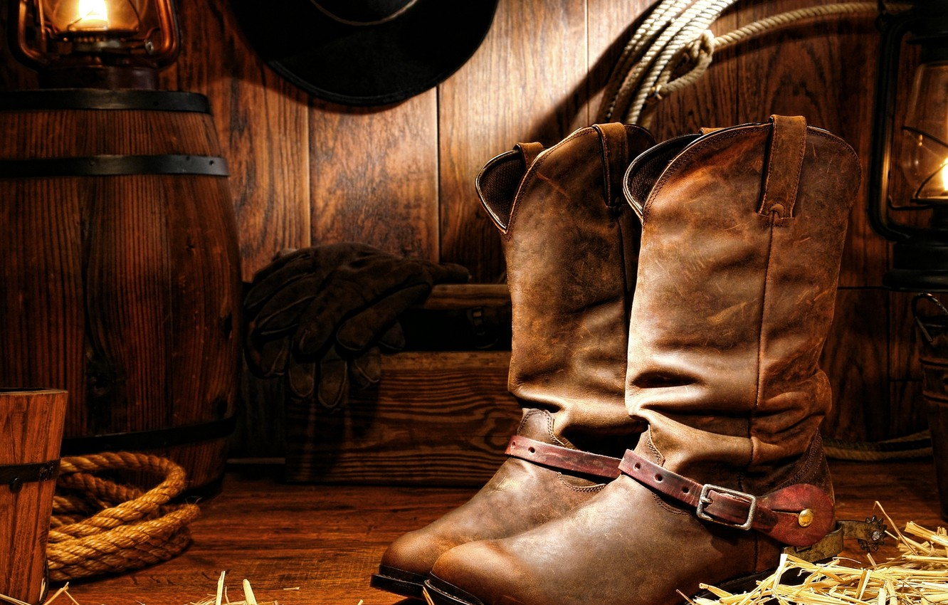 Wallpaper hat, wood, lamp, gloves, cord, cowboy boots images