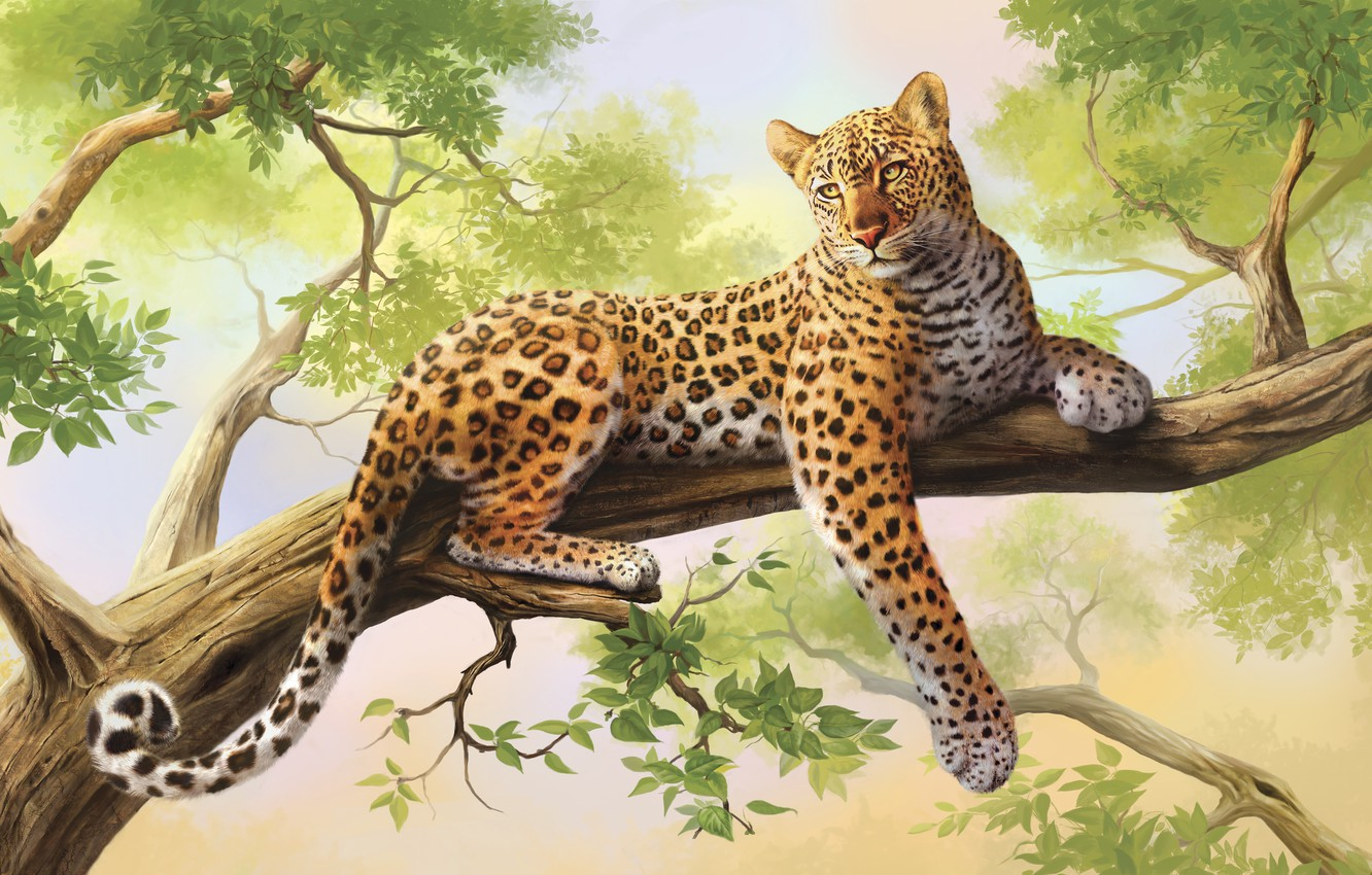 Photo wallpaper tree, leopard, painting, art, olggah