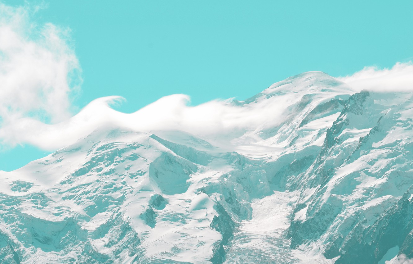 Photo wallpaper The sky, Clouds, Snow, Mountain