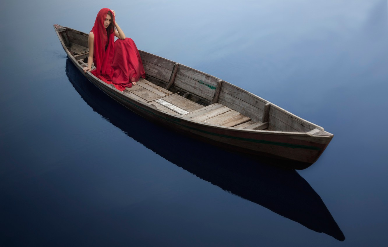 Photo wallpaper girl, boat, water surface