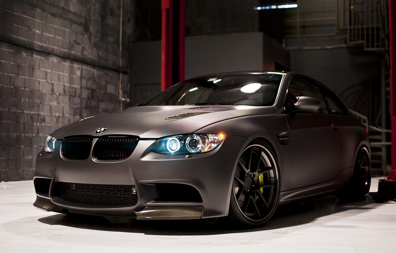 Photo wallpaper black, BMW, BMW, Matt, Boxing, black, E92