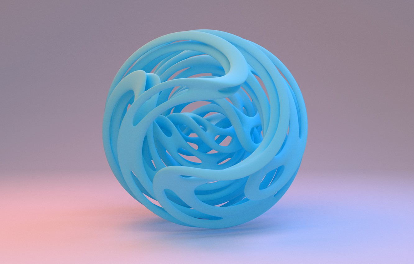 Photo wallpaper line, background, blue, ball, curves, sphere