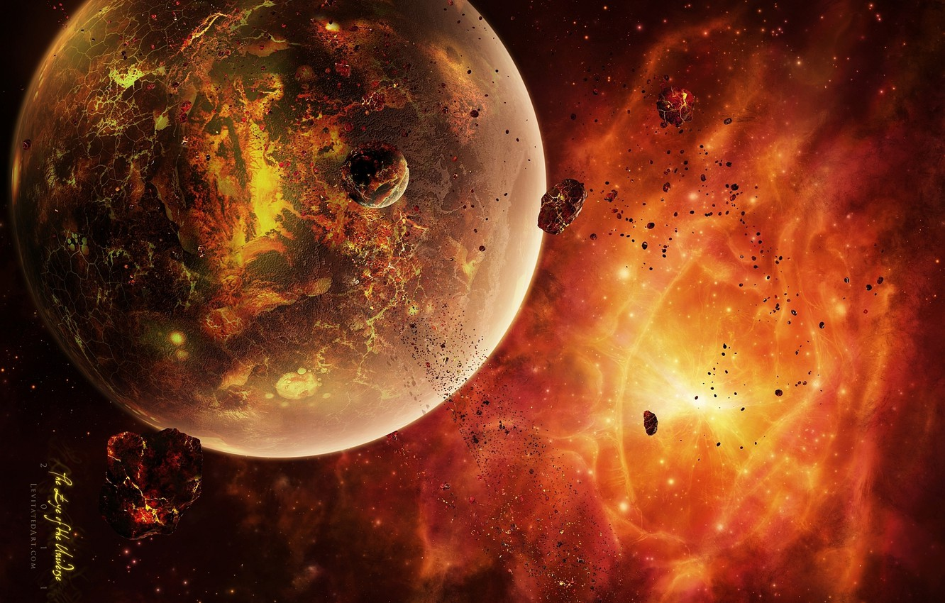 Photo wallpaper asteroids, the red-hot planet, dead sistem