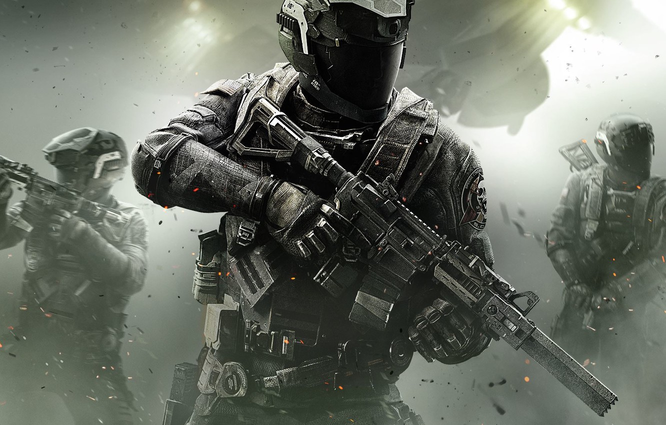 Photo wallpaper Lights, Smoke, Light, Helmet, Soldiers, Call of Duty, CoD, Military, Activision, Equipment, Infinity Ward, High …