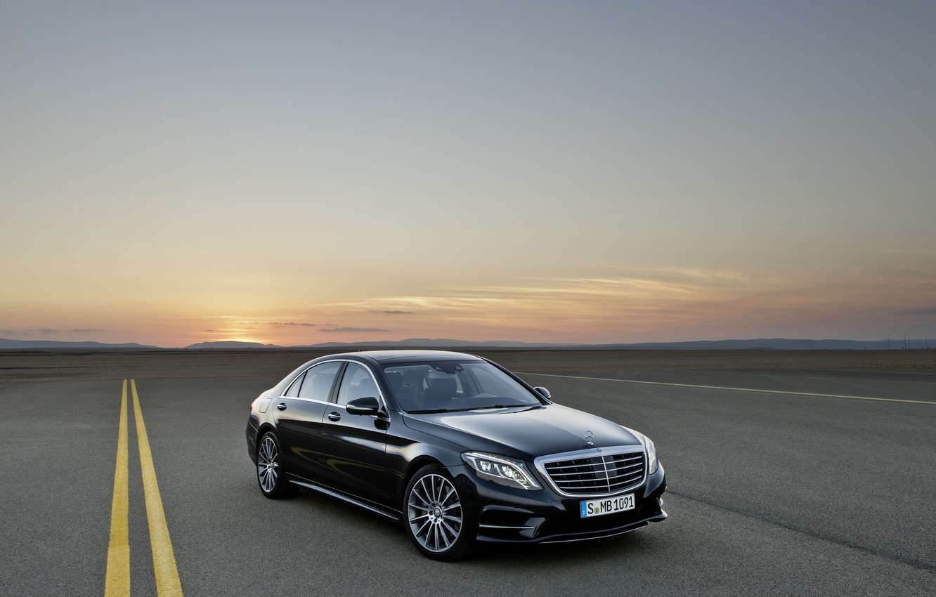 Photo wallpaper Sunset, Road, Black, Mercedes, S-class, Diodes, The flagship