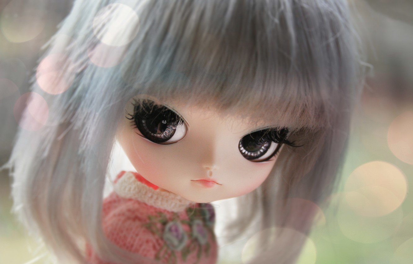 Photo wallpaper eyes, face, doll, large, bangs