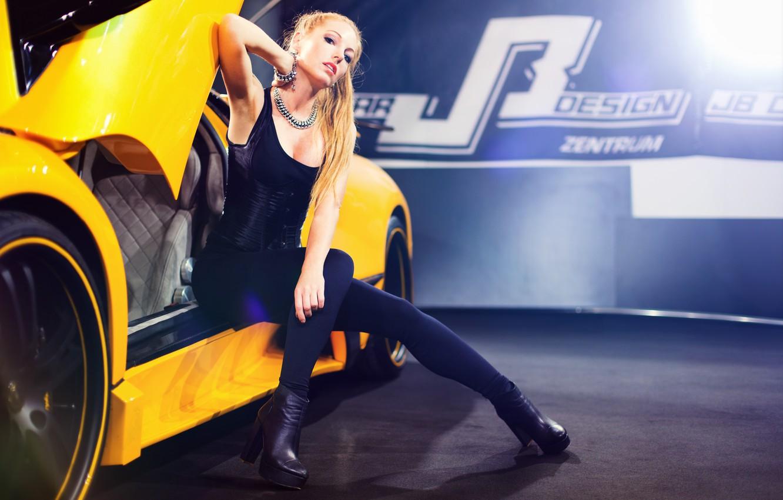 Photo wallpaper machine, auto, pose, feet, model, Sina Mai