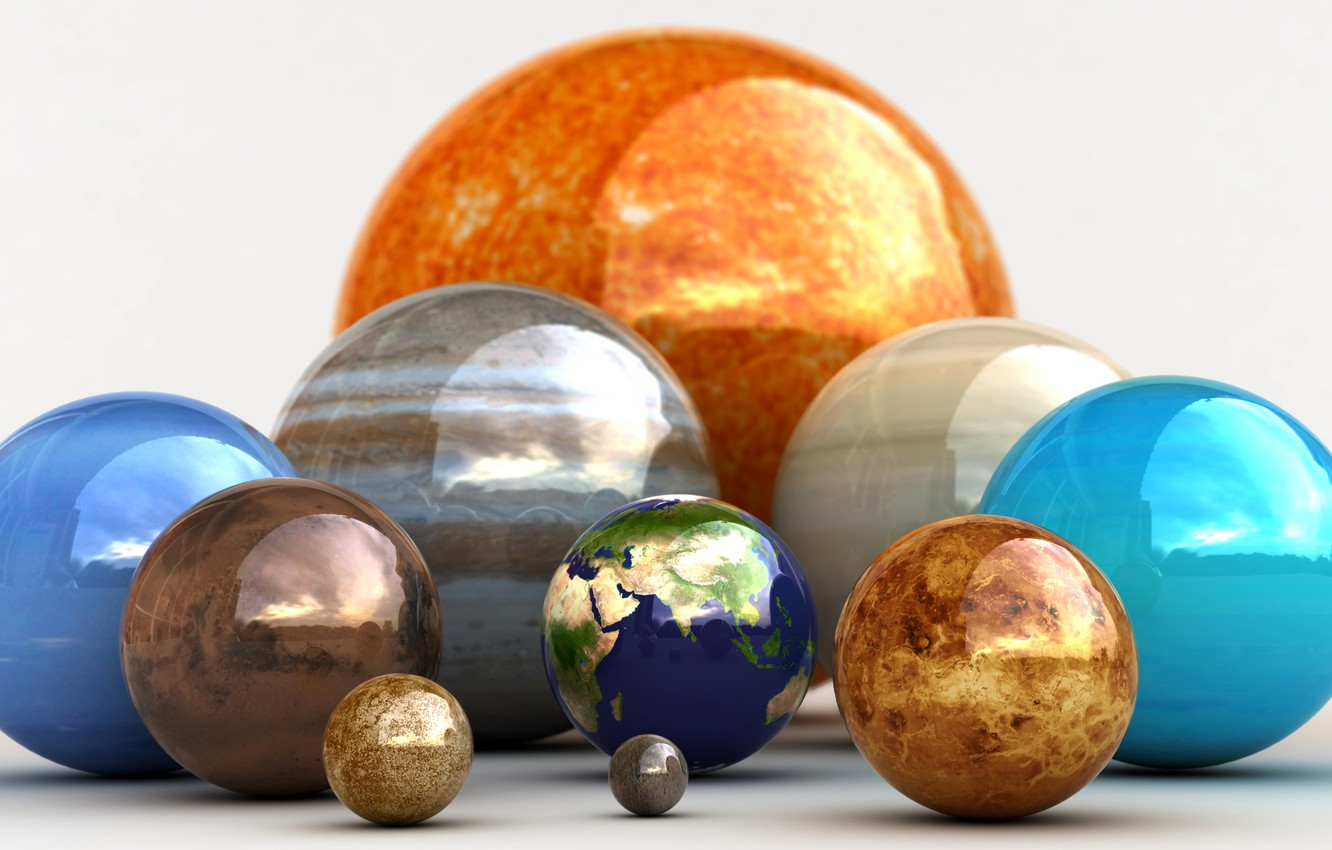 Photo wallpaper Balls, Planets, The planet, Our Planet, Our Happy Family