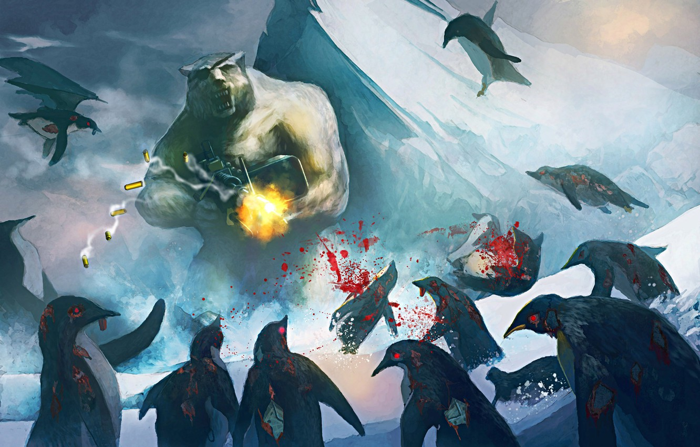 Photo wallpaper penguin, machine gun, polar bear, art
