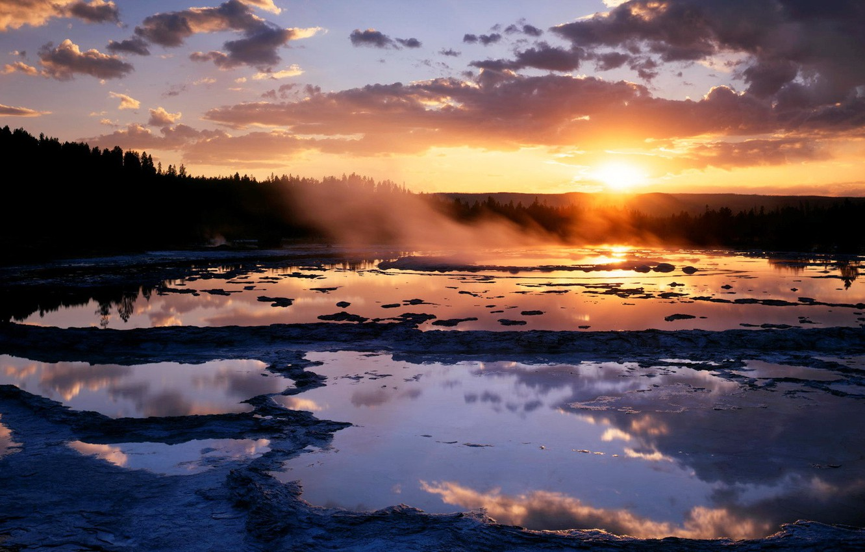 Photo wallpaper the sun, sunset, Swamp