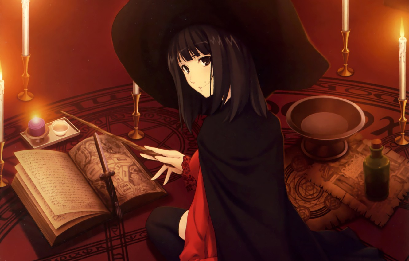 Photo wallpaper magic, Girl, hat, candles, signs, book, dagger, witch, wand