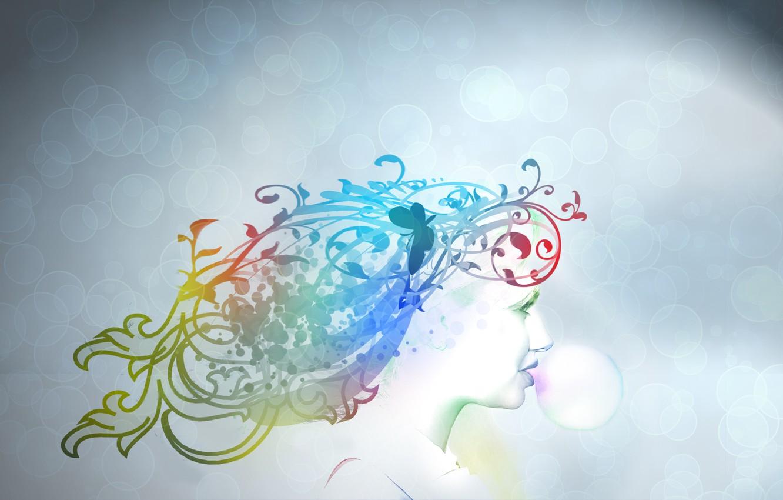Photo wallpaper girl, bubbles, color, gum