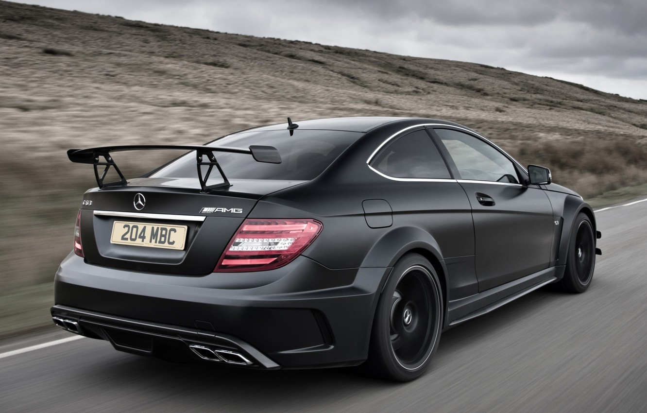 Photo wallpaper road, the sky, black, Mercedes-Benz, Mercedes, supercar, rear view, AMG, Coupe, AMG, ц63, Black Series, …