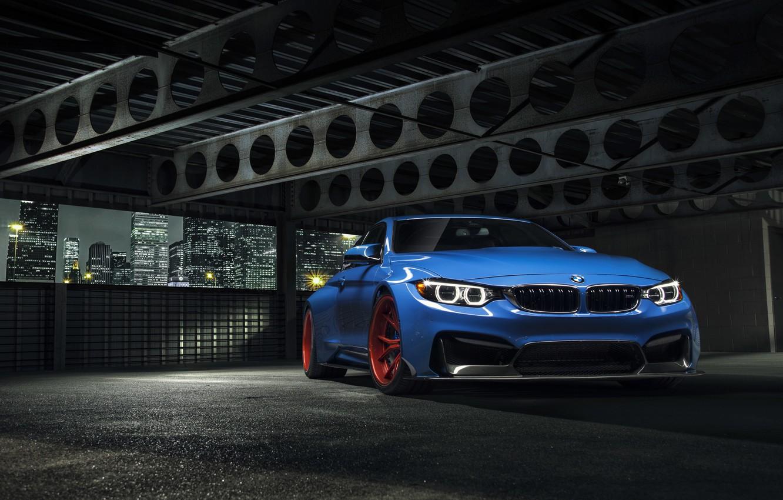 Photo wallpaper BMW, City, Blue, Front, Vorsteiner, Wheels, Widebody, Photoshoot, Nigth, GTRS4