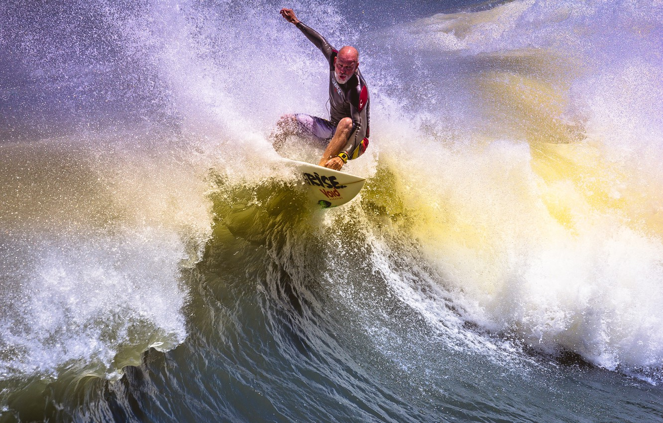 Photo wallpaper squirt, wave, people, Board, surfing