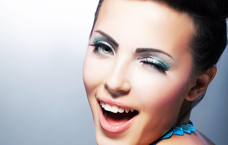Photo wallpaper girl, face, eyelashes, makeup, hairstyle, lips, shadows, green eyes, facial expressions
