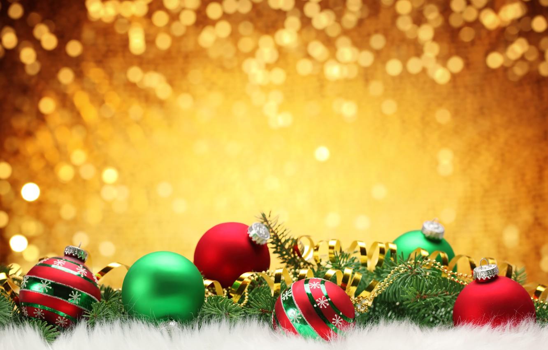 Photo wallpaper branches, balls, fur, tree, Christmas decorations