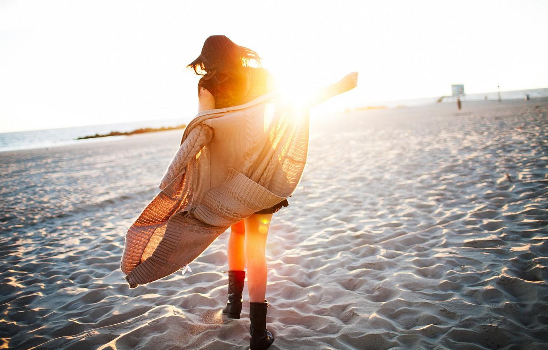 Photo wallpaper sand, beach, girl, the sun