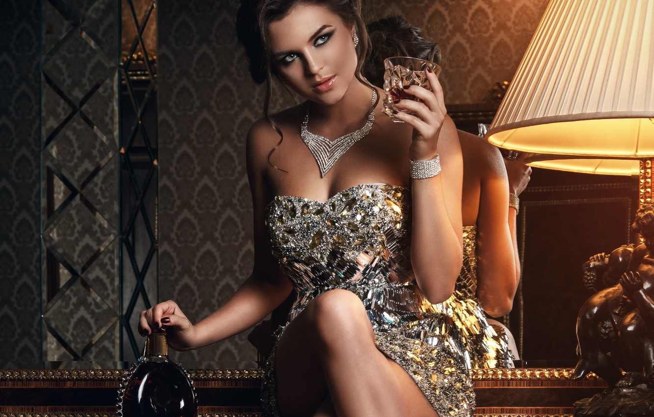 Photo wallpaper look, girl, decoration, pose, reflection, dress, mirror, alcohol