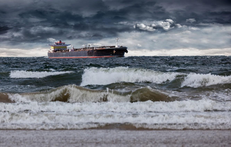 Photo wallpaper sea, wave, the sky, clouds, overcast, shore, ship, horizon, surf, tanker
