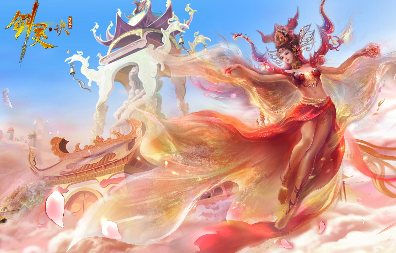 Photo wallpaper fantasy, anime, art, China, girl. game. the city