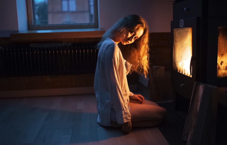 Photo wallpaper Girl, Look, Fire, Light, Hair, Fireplace