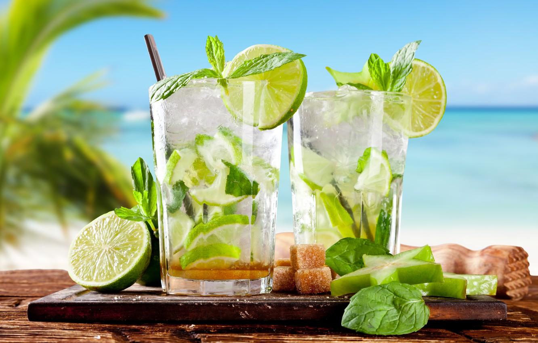 Photo wallpaper beach, summer, tropics, cocktail, lime, summer, drink, beach, mint, drink, cocktail, lime, mint, tropics