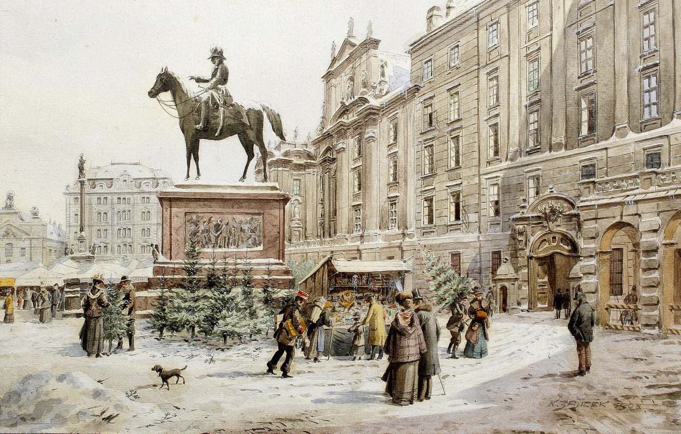 Photo wallpaper picture, painting, painting, 1908, Karl Wenzel Zajicek, A Christmas market in Am Hof Vienna