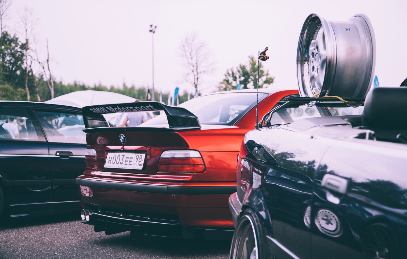 Photo wallpaper bmw, red, e36, stance nation, m3