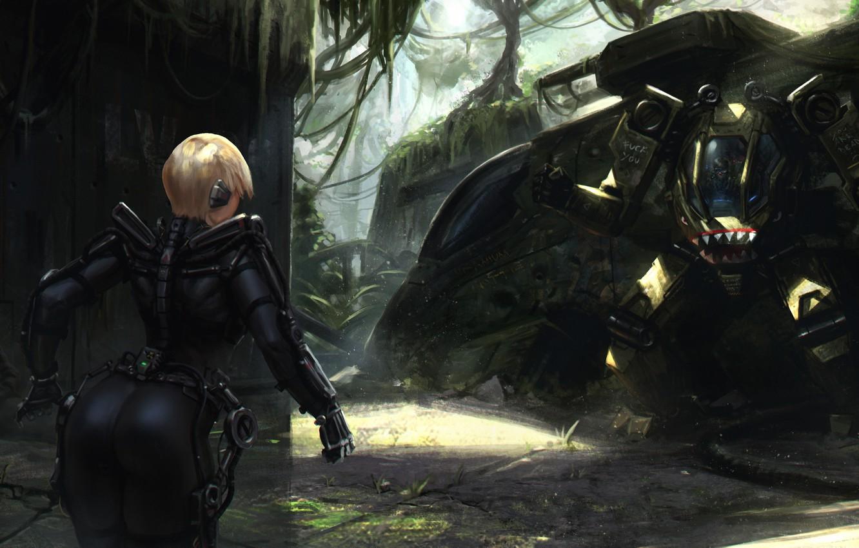 Photo wallpaper ass, girl, fiction, robot, jungle, art, blonde, tank, ass, the exoskeleton, Heavy Metal