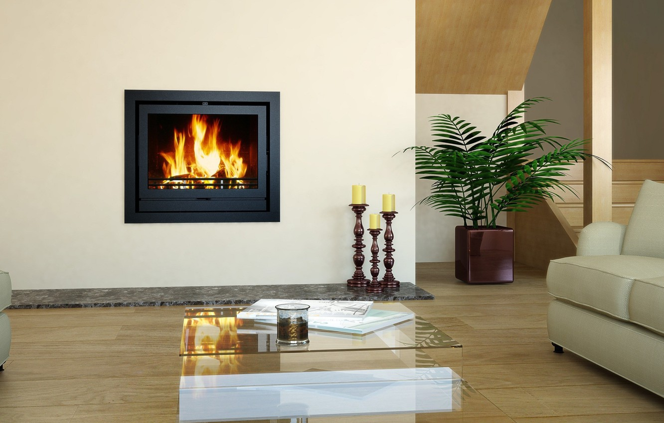 Photo wallpaper design, style, room, interior, fireplace, living room