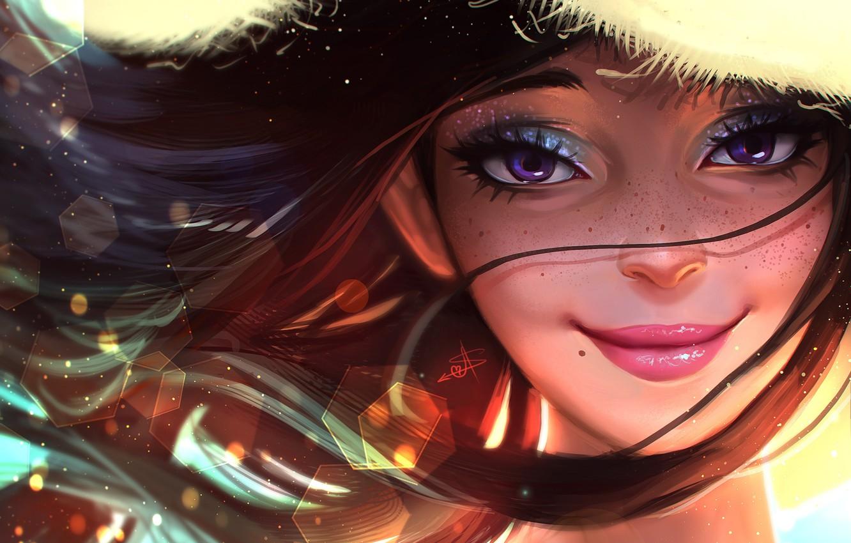 Photo wallpaper summer, eyes, girl, face, smile, hair, hat, art