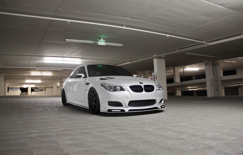 Photo wallpaper white, bmw, BMW, Parking, white, front view, e60