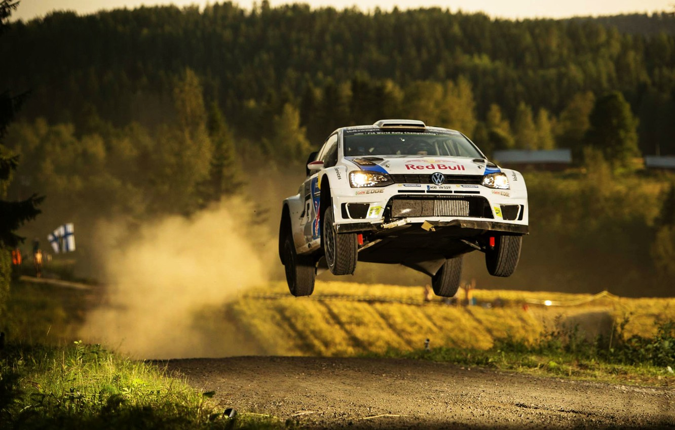 Photo wallpaper Dust, Volkswagen, Jump, WRC, Rally, Rally, Finland, Polo
