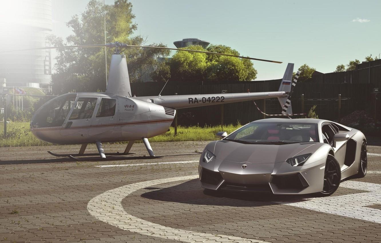 Photo wallpaper Lamborghini, Supercar, Helicopter, LP700-4, Aventador
