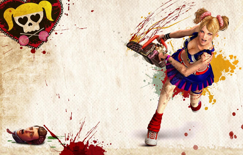 Photo wallpaper girl, blood, head, electric, Lollipop chainsaw