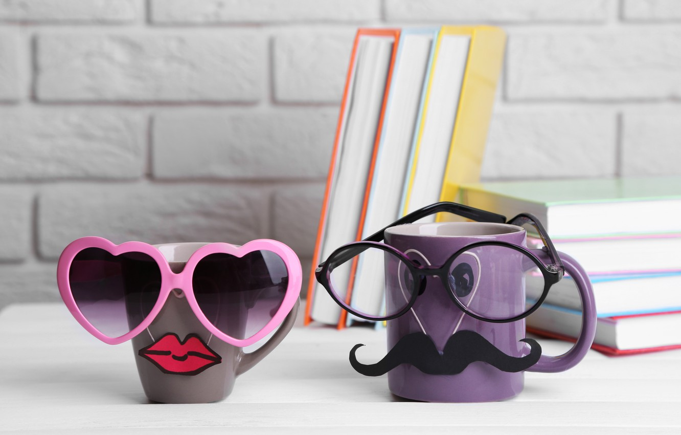 Photo wallpaper books, coffee, glasses, mug, cup, lips, funny, glasses, cute, books, mustache