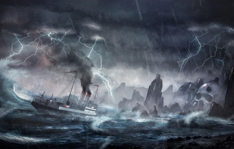 Photo wallpaper wave, storm, rocks, lightning, ship, island, storm,
