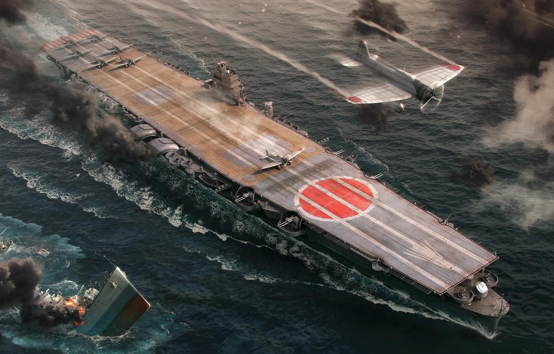 Photo wallpaper The carrier, Wargaming Net, WoWS, World of Warships, The World Of Ships, IJF Hiryu, Hiru