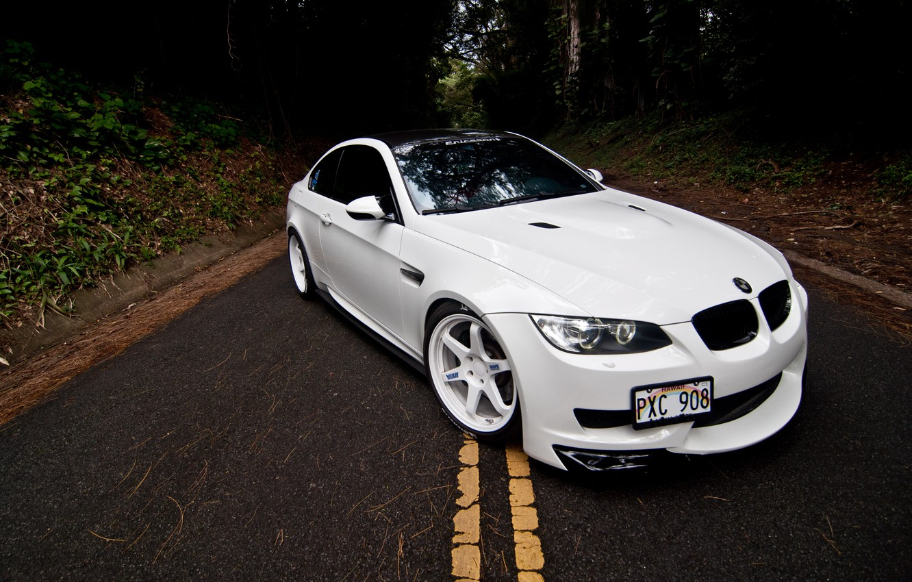 Photo wallpaper road, white, markup, bmw, BMW, coupe, the hood, white, the front, e92