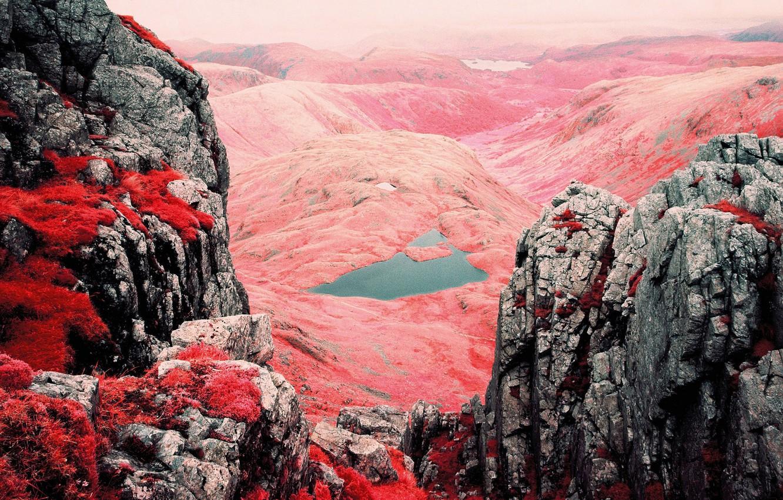 Photo wallpaper grass, mountains, nature, lake, rocks, paint, filter