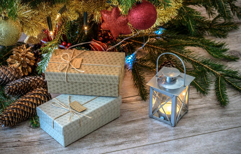 Photo wallpaper decoration, holiday, Board, new year, Christmas, candle, flashlight, lantern, gifts, needles, bumps, box, Christmas decorations, …