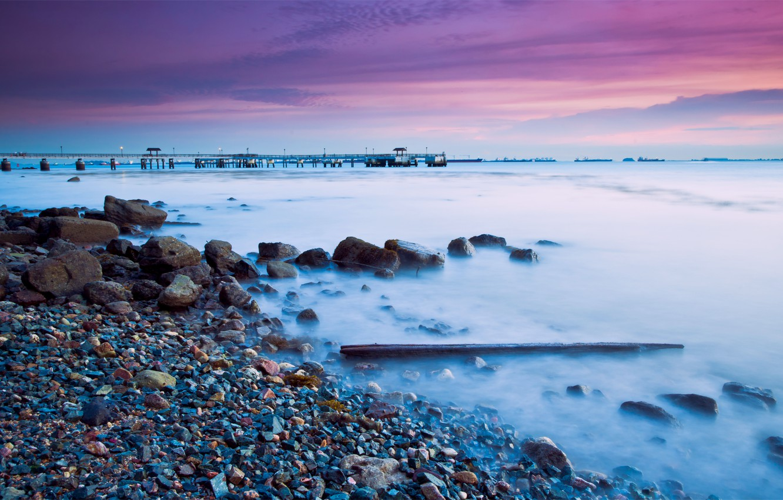 Photo wallpaper sea, the sky, clouds, sunset, bridge, stones, lilac, shore, coast, the evening, Singapore, twilight, twilight, …