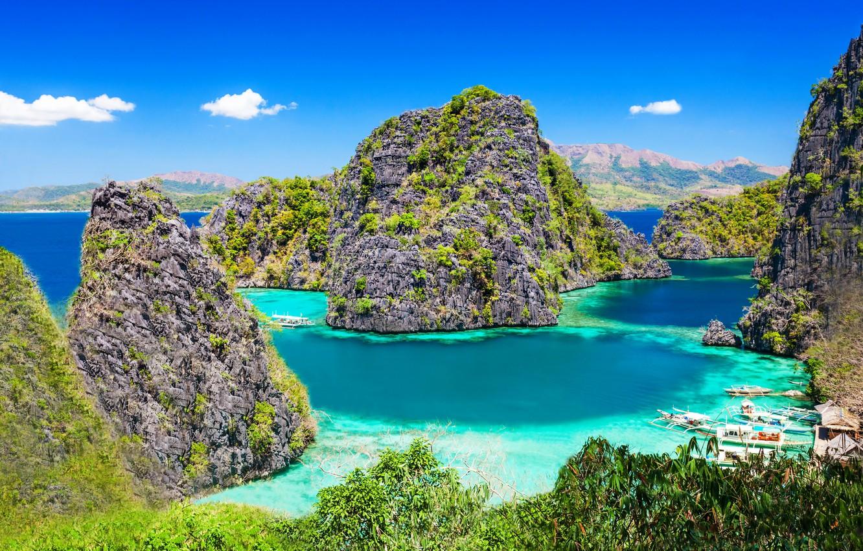 Photo wallpaper Islands, mountains, tropics, the ocean, rocks, coast, boats, Philippines, Philippines