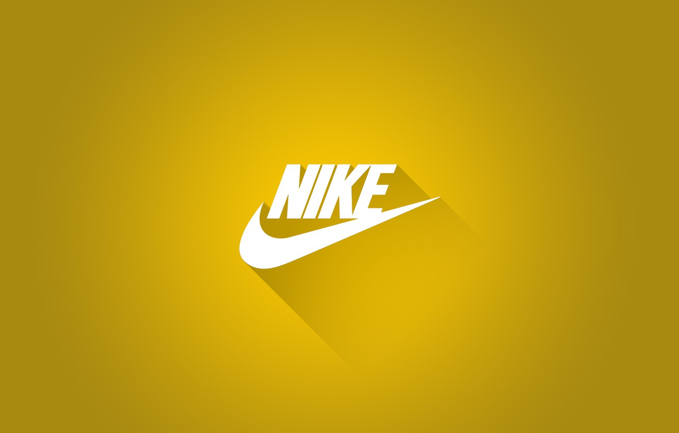 Photo wallpaper Logo, Shadow, Nike, Nike, Sports brand, Yellow background
