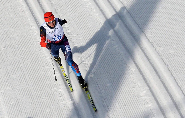 Photo wallpaper snow, track, shadow, Russia, Sochi 2014, ski race, Paralympics, three-time world champion, three-time winner, two-time …