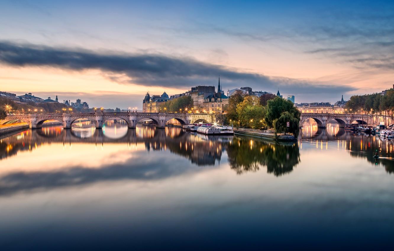 Photo wallpaper the city, lights, river, France, Paris, the building, home, Hay, bridges