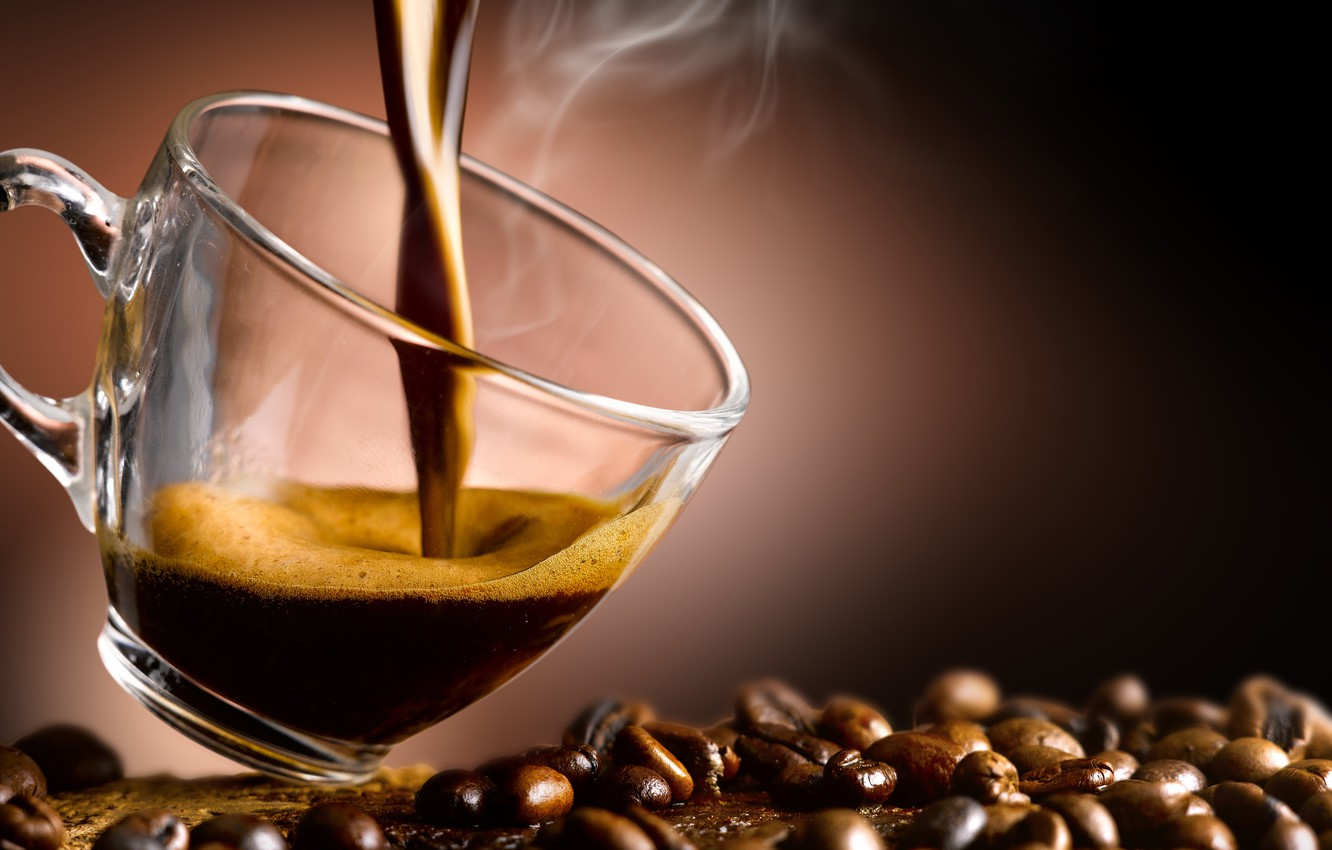 Photo wallpaper coffee, Cup, coffee beans, aroma, coffee, Cup, coffee beans, aroma