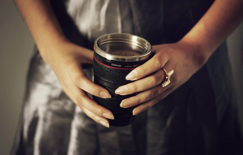 Photo wallpaper foam, coffee, hands, ring, mug