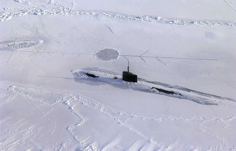 Photo wallpaper snow, Submarine, ice, submarine, Arctic